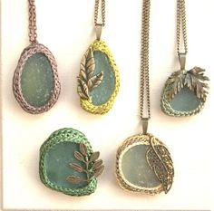 Autumn jewelery Sea glass brooch yellow brown leaf by astash