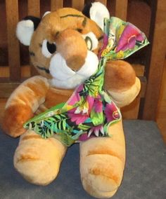 "16"" VINTAGE 1993 COMMONWEALTH Soft Plush TIGER w/ JUNGLE Print Blanket  23 #Commonwealth"