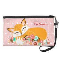 Edit this lovely little fox cub design with your own name or message - also makes a perfectly personalized gift idea! Click CUSTOMIZE to change background colors, text color and font #bag #clutch #wristlet #mini #name #custom #customize #fox #feminine #cub #foxes #personalized #gift #for #her #girly #pink #pretty #cute #cosmetics #bag #travel #bag #pattern #back #to #school #pencil #case #foxy #cartoon #illustration #orange #white #brown #tween #teen #baby #sleepy #sleeping #asleep #flowers…