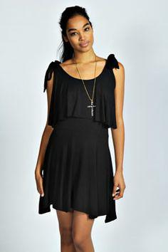 Lola Tie Shoulder Ruffle Dress at boohoo.com