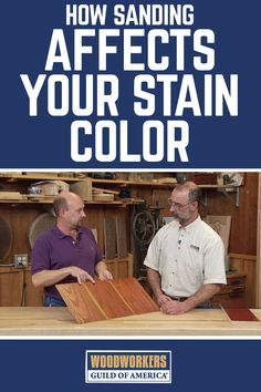 Believe it or not, the most important step in the finishing process is sanding. George Vondriska and Matt Newborg show you how different sand paper grit can affect the final stain color of your woodworking projects. projects tips woodworking Woodworking For Kids, Woodworking Logo, Easy Woodworking Projects, Popular Woodworking, Woodworking Videos, Woodworking Furniture, Woodworking Plans, Wood Projects, Wood Furniture