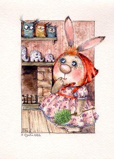 серия Милое семейство Открытка акварелью на заказ мишки тедди teddy toys dolls postcard art drawing