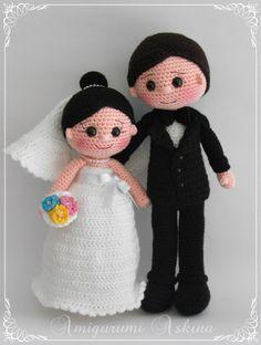 Amigurumi Bride Groom Baby How To . Crochet Patterns Amigurumi, Amigurumi Doll, Knitted Dolls, Crochet Dolls, Wedding Doll, Crochet Wedding, Novelty Toys, Doll Costume, New Dolls