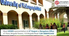 Meet University of Wollongong in Dubai representatives at Bangalore on 6th August,2016. Book an appointment today to avail free services, scholarship opportunities and on spot offers. Visit: http://studyoverseasglobal.com/university-visit/ to register. #StudyOverseas #Dubai #UOWD #Bangalore #UniversityVisit