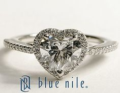 Heart Shaped Halo Diamond Engagement Ring in Platinum #BlueNile