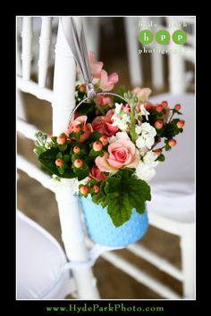 Adorable aisle decor-hanging hobnails. Bouquets of Austin|Pearl Events|Hyde Park Photography| Villa Del Lago