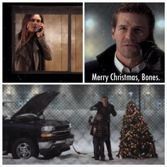 Season 3, Episode 9: The Santa in the Slush. Follow @Nicole Scenes on Instagram. #bones #temperancebrennan #bonestv #seeleybooth #brennan #booth #bonesonfox #christmas #christmastree #snow #emilydeschanel #parkerbooth #davidboreanaz