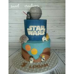 Star Wars cake original design from the net.  Chocolate cake filled with oreo buttercream.  #sweetcreationsbycandi #starwars #groomscake