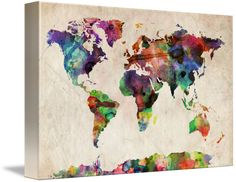 """""""World+Map+Urban+Watercolor""""+by+Michael+Tompsett,+Castellon+//+A+map+of+the+world,+created+from+watercolor+painting+and+digital+manipulation.+Maps+come+in+many+shapes+and+forms.+Although+current+atlas+style+maps+are+highly+functional,+they+have+lost+some+of+the+creativity+and+artistic+flare+that+can+be+seen+in+many+antique+maps.+This+is...+//+Imagekind.com+--+Buy+stunning+fine+art+prints,+framed+prints+and+canvas+prints+directly+from+independent+working+artists+and+photographers."""
