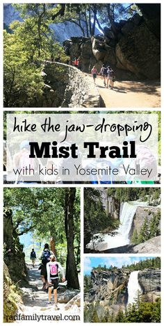Hike the Mist Trail in Yosemite with your family and friends! A stunning experiencein one of California's best national parks. Get soaked in the mist of Vernal and Nevada Falls and enjoy the John Muir trail on the way back down to the valley. California National Parks, Us National Parks, Yosemite National Park, California Travel, Yosemite California, Yosemite In April, California With Kids, California California, Michigan Travel