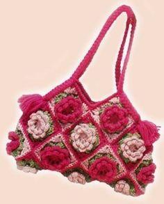 Uncinetto d'oro: Bellissima borsa con rose!