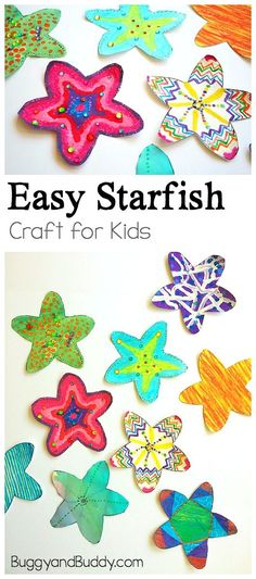 Easy Starfish Craft for Kids with Free Printable Starfish Template: Make your own sea stars using various art techniques in this open-ended art project for children. Perfect for an ocean or sea life unit and so easy to do for kids of all ages- preschool, kindergarten, and elementary! ~ BuggyandBuddy.com