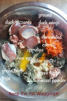 Raw food dinner for dogs… Duck gizzards Ground duck wings Green beef tripe Raw Egg Fermented carrots (source of probiotics) Green lipped mussel powder (anti-inflammatory) Spirulina Golden paste Keep the Tail Wagging® Dog Raw Diet, Raw Food Diet, Kidney Recipes, Raw Food Recipes, Egg Recipes, Healthy Recipes, Dog Eating, Eating Raw, Eggs For Dogs