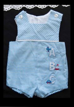 Baby Boys Vintage 50's 60's Sunsuit Romper Blue & White Gingham Appliqued Sailboat Car Airplane Size 6 months Blue Red White