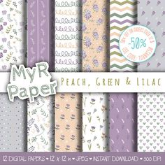 """Digital paper doodle flowers: """"Peach, Green & Lilac"""" #patterns for #scrapbooking, invite, card – flower, bloom, #blossom, tulip, leaf, floral, dots  50% OFF ON ORDERS OVER 12 ... #design #graphic #digitalpaper #printable"""