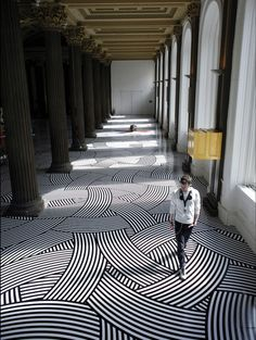 With regular vinyl tape, Glasgow-based artist Jim Lambie transforms any given space into a colorful, mesmerizing landscape that often create optical illusions. Geometric Floor Installation by Jim Lambie