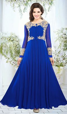 Flaunt pristine elegance dressed in this blue embroidered georgette gown. Beautified with butta, resham and stones work. #PreetyDesignerWear