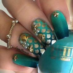 Sea/Beach Themed Styled Nail Designs with Gold, Teal, Studs, and Silver, really beautiful. They also look like Mermaid Themed Designed Nails ❤