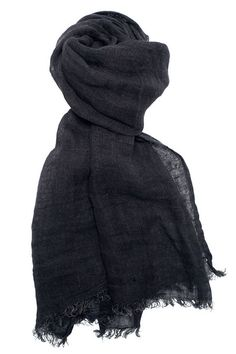 Pure linen black scarf, thin light fabric. For casual wear, for gift. Unisex - perfect for men and women. FREE SHIPPING if shipped with another item. Wrap in it or warm your neck.  Composition: 100 % linen. Fabric is made in Lithuania (Europe, European union). The scarf is sewed in Lithuania. The scarf will become more soft after each washing.  Dimensions: 48 x170 cm + 2 cm fringes, or 19 x 67 inches + 0,8 inches fringes Easy care: hand wash/ machine wash (40).