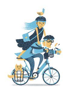 Bikeshare  illustration, phldesign, james olstein, jamesolstein, editorial, bike, bike share