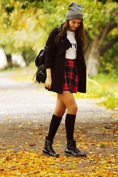 Asos Hat, Glamorous Skirt, New Look Backpack, Dr. Martens Boots