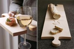 43 DIY Interesting And Useful Ideas For Your Home. I especially love the puzzle bread board /party tray with wine holder idea! Kitchen Inventions, Cool Kitchen Gadgets, Cool Inventions, Cool Kitchens, Kitchen Tools, Awesome Gadgets, Kitchen Products, Party Platters, Serving Platters
