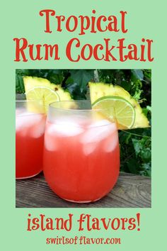 Drinks Alcohol Recipes, Drink Recipes, Real Food Recipes, Party Drinks, Fun Drinks, Cocktails, Tropical Alcoholic Drinks, Coconut Rum, Healthy Crockpot Recipes