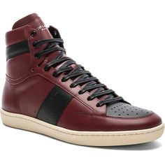 Saint Laurent Leather High Top Sneakers ($600) ❤ liked on Polyvore featuring men's fashion, men's shoes, men's sneakers, sneakers, mens leather shoes, mens leather high top sneakers, mens perforated leather shoes, mens leather high top shoes and mens perforated shoes