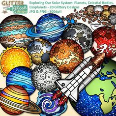 Solar system clipart with a touch of glitter is in store! Are you ready to hop a flight and travel the universe exploring? Need to pep up some TPT-seller science products with exciting visuals of the solar system? Want to decorate a classroom bulletin board for your upcoming astronomy unit?