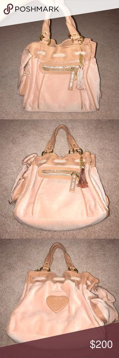 Juicy Couture BRAND NEW Velour Purse NWOT Gorgeous Juicy Couture velour pink bag. Never used. Perfect condition. Beautiful crystal detailing along the front zipper and side pocket. Authentic. NWOT Juicy Couture Bags