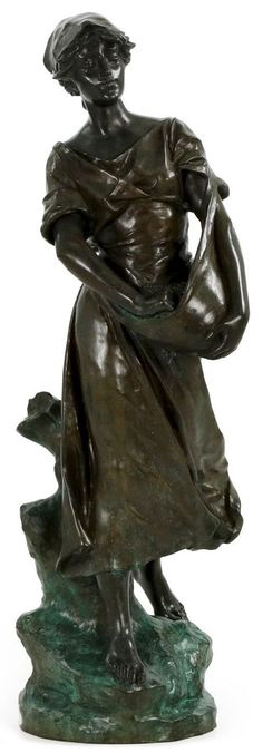 "After Edouard Drouot (French, 1845-1914), ""La Semeuse"", bronze, modele ca. 1902, signed"