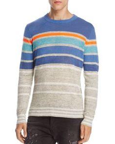 Diesel K-Colonial Striped Linen Blend Sweater Men - Bloomingdale's Joey Tribbiani, Striped Linen, Diesel, Men Sweater, Mens Fashion, Pullover, Long Sleeve, Colonial, Model