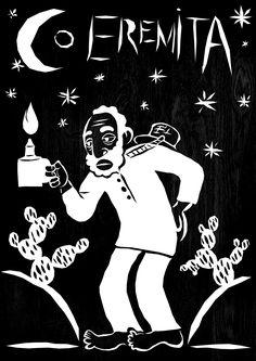 """O Eremita- A austeridade, sobriedade, concentração e prudência que a carta representa aparece na imagem de Preto Velho  Sábios, ternos e pacientes, dão o amor, a fé e a esperança aos """"seus filhos"""". São entidades que tiveram, pela sua idade avançada, o poder e o segredo de viver longamente através da sua sabedoria, apesar da rudeza do cativeiro demonstram fé para suportar as amarguras da vida, consequentemente são espíritos guias de elevada sabedoria)."""