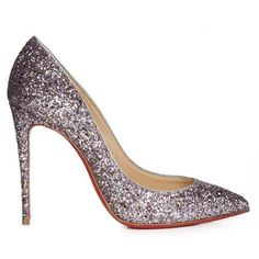 Christian Louboutin Pigalle Follies 100mm glitter pumps ($575) ❤ liked on Polyvore featuring shoes, pumps, christian louboutin, heels, silver multi, pointy toe pumps, silver high heel pumps, silver shoes, silver high heel shoes and heels stilettos