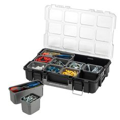 Husky Interlocking Small Parts Organizer features a sturdy clear lid that makes it easy to identify the contents without opening the lids. It comes with removable bins in 2 sizes for easy transport and Diy Garage Storage, Lego Storage, Nail Organization, Small Parts Organizer, Storage Compartments, Husky, Things To Come, Garage Ideas, Black