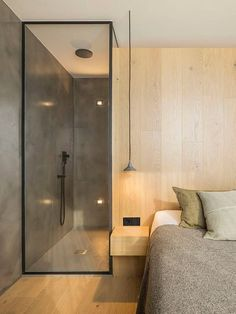 A Barcelona Penthouse Grounded in Natural Light and Black Accents – Design Milk Barcelona penthouse designed by interior architect Susanna Cots Home Decor Bedroom, Modern Bedroom, Contemporary Bedroom, Modern Hotel Room, Door Design, House Design, Open Bathroom, Dyi Bathroom, Bathroom Remodeling