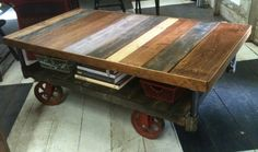 industrial cart on wheels table | Industrial Cart Coffee Table | Yellow Chair Market