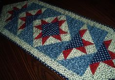 Patriotic Stars Quilted Table Runner 14 x 36 inches. $34.00, via Etsy.