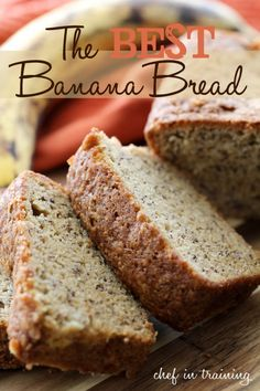 BEST Banana Bread on chef-in-training. This recipe has been put to the test and really is THE BEST! It is SO delicious!The BEST Banana Bread on chef-in-training. This recipe has been put to the test and really is THE BEST! It is SO delicious! Just Desserts, Delicious Desserts, Dessert Recipes, Yummy Food, Healthy Food, Best Banana Bread, Buttermilk Banana Bread, Banana Bread Oil, 2 Bananas Banana Bread
