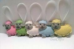 Felt Sheep ornament wool felt Lamb ornament pastel Easter