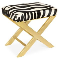 """Check out this item at One Kings Lane! Peter 23"""" X-Bench, Black/White Zebra"""