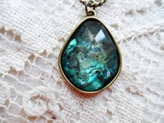 Vintage Handcrafted Handmade ABALONE Necklace Edged in Brass Setting Unusual $21.78 via OrphanedTreasure Etsy