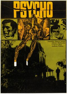 1970 Czech poster for Psycho (1960), designed by Zdenek Ziegler.