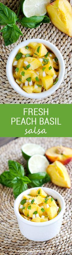 The flavors of summer come together in this fresh peach basil salsa. It's paleo, gluten free, grain free, and perfect with grilled seafood, chicken or pork. ~ http://cookeatpaleo.com