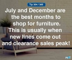 Looking for new furniture? December is the best time to save! #empowermentfinance #savemoney #Payoff #WhatsYourPayoff
