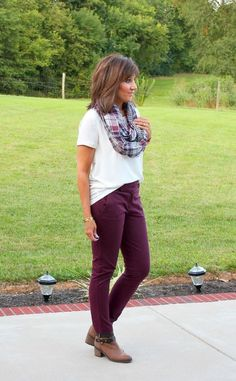 One Pant Styled Three Ways (Cyndi Spivey) Fall Fashion Outfits, Fashion Pants, Autumn Fashion, Women's Fashion, Fashion Tips, Plum Pants Outfit, Cranberry Pants, Simple Outfits, Cute Outfits