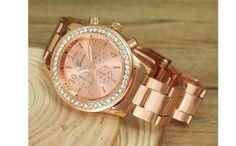 Ceas Geneva Fashion Ron, Geneva, Michael Kors Watch, Gold Watch, Rose Gold, Accessories, Fashion, Crystal, Moda