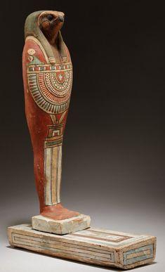 funerary figure plastered and painted wood) of the God Qebehsenuef; BCE, now in the Metropolitan Museum… Egyptian Mythology, Ancient Egyptian Art, Ancient Aliens, Ancient Greece, Egyptian Goddess, Ancient Mysteries, Ancient Artifacts, Egypt Mummy, Modern Egypt
