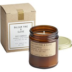 balsam pine and clove soy candle    CB2