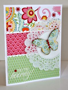 """Karen Pedersen: Butterfly Card made with Chantilly Papers from Close To My Heart Today I will start with a standard card (4 1/4"""" x 5 1/2"""").Here's the easy, peasy step-by-step guide of how to make it (including links to my website for the products I used): 1. Begin with a 4 1/4"""" x 5 1/2"""" White Daisy card...2.  Cut a few pieces of Chantilly papers: ..."""
